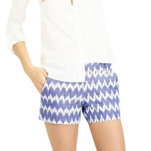 J.Crew Blue White Zig Zag Ikat Shorts 0 Stretch